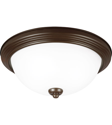 Sea Gull 77063-827 Signature 1 Light 12 inch Bell Metal Bronze Flush Mount Ceiling Light in Satin Etched Glass, Standard photo