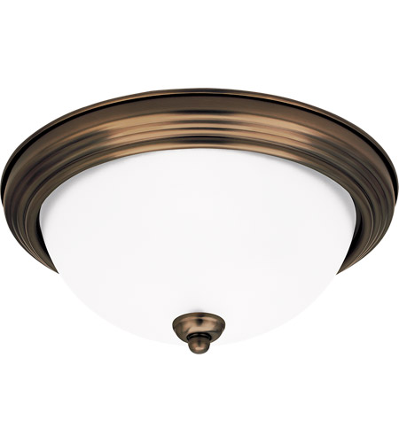 Sea Gull 77063-829 Signature 1 Light 11 inch Russet Bronze Flush Mount Ceiling Light in Satin Etched Glass, Standard photo
