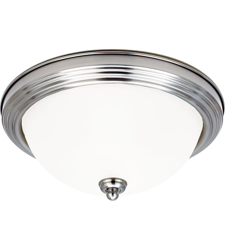 Sea Gull 77063-962 Signature 1 Light 11 inch Brushed Nickel Flush Mount Ceiling Light in Satin Etched Glass, Standard photo