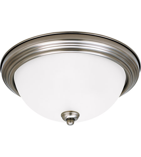 Sea Gull 77063-965 Signature 1 Light 11 inch Antique Brushed Nickel Flush Mount Ceiling Light in Satin Etched Glass, Standard photo