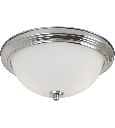 Sea Gull 77064-05 Signature 2 Light 13 inch Chrome Flush Mount Ceiling Light in Satin Etched Glass, Standard photo