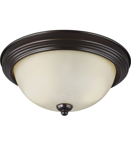 Sea Gull 77064-710 Signature 2 Light 13 inch Burnt Sienna Flush Mount Ceiling Light in Amber Scavo Glass, Standard photo
