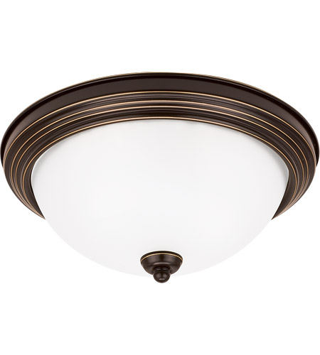 Sea Gull 77064S-782 Signature LED 13 inch Heirloom Bronze Flush Mount Ceiling Light in Satin Etched Glass photo