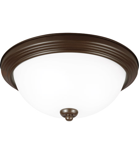 Sea Gull 77064-827 Signature 2 Light 13 inch Bell Metal Bronze Flush Mount Ceiling Light in Satin Etched Glass, Standard photo