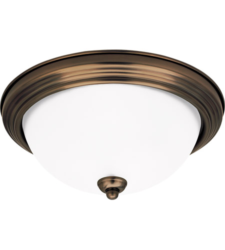 Sea Gull 79364BLE-829 Signature 2 Light 13 inch Russet Bronze Flush Mount Ceiling Light in Satin Etched Glass photo