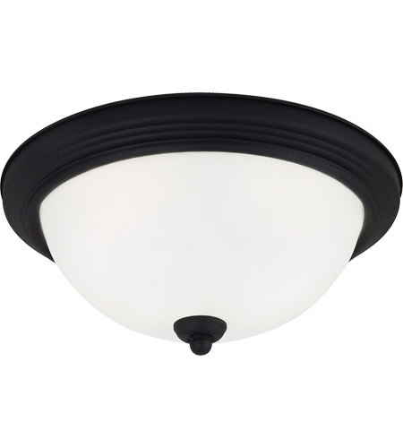 Sea Gull 77064-839 Signature 2 Light 13 inch Blacksmith Flush Mount Ceiling Light in Satin Etched Glass, Standard photo
