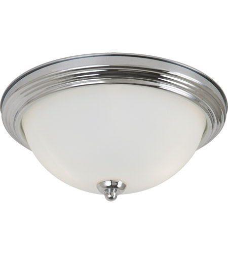 Sea Gull 77065-05 Signature 3 Light 15 inch Chrome Flush Mount Ceiling Light in Satin Etched Glass photo