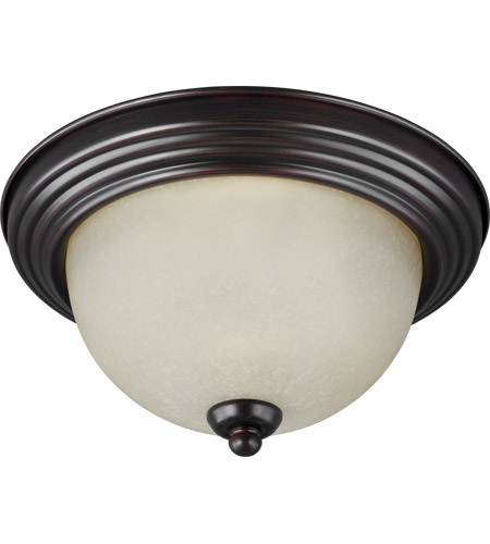 Sea Gull 77065-710 Signature 3 Light 15 inch Burnt Sienna Flush Mount Ceiling Light in Satin Etched Glass photo