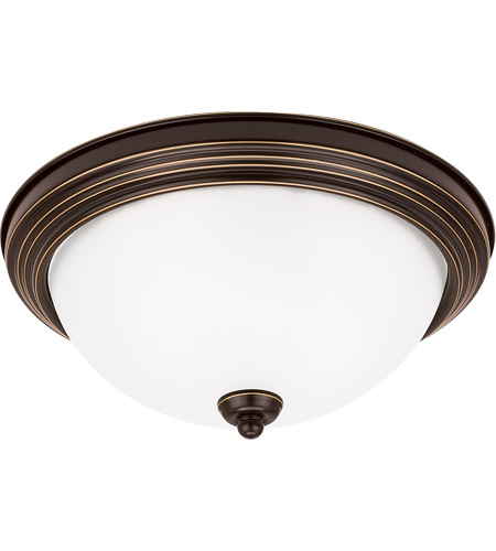 Sea Gull 77065-782 Signature 3 Light 15 inch Heirloom Bronze Flush Mount Ceiling Light in Satin Etched Glass photo