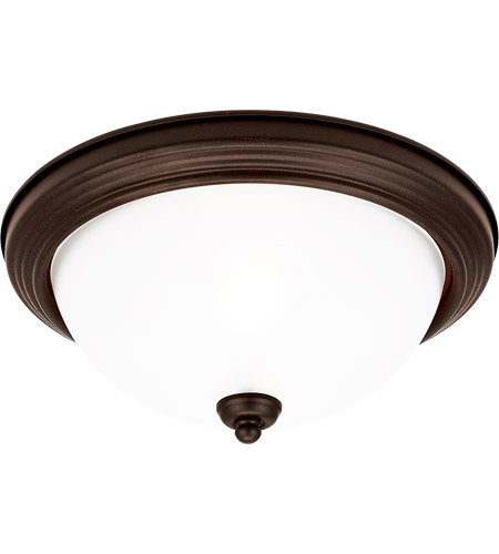 Sea Gull 79565BLE-814 Signature 3 Light 15 inch Misted Bronze Flush Mount Ceiling Light in Satin Etched Glass photo