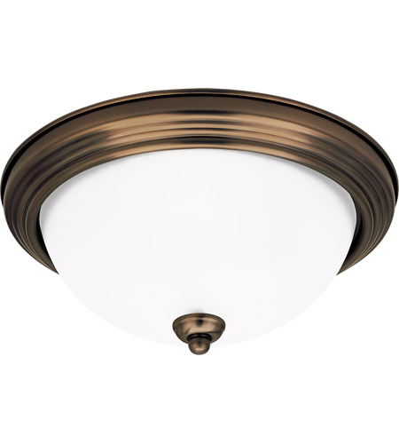 Sea Gull 77065-829 Rialto 3 Light 15 inch Russet Bronze Flush Mount Ceiling Light in Satin Etched Glass photo