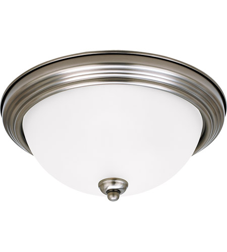 Sea Gull 77065-965 Signature 3 Light 15 inch Antique Brushed Nickel Flush Mount Ceiling Light in Satin Etched Glass photo