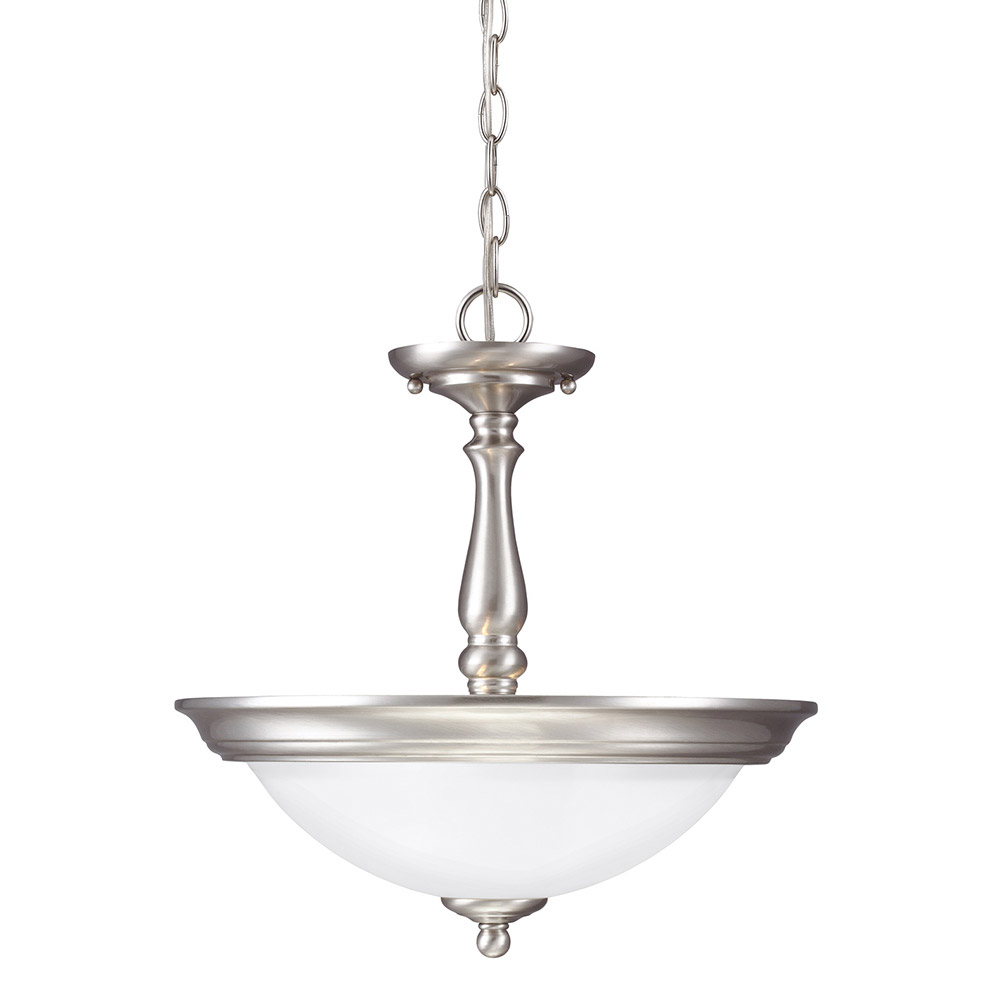 Sea Gull Northbrook 2 Light Semi-Flush Convertible Pendant in Brushed Nickel 7712402-962