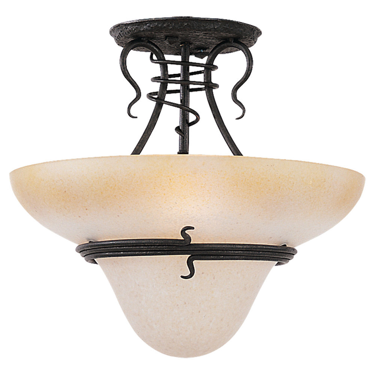 Sea Gull Lighting Saranac Lake 3 Light Semi Flush Mount in Forged Iron 7713-185 photo