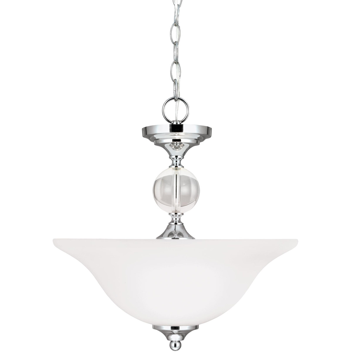 Sea Gull Englehorn 2 Light Semi-Flush Convertible Pendant in Chrome / Optic Crystal 7713402-05