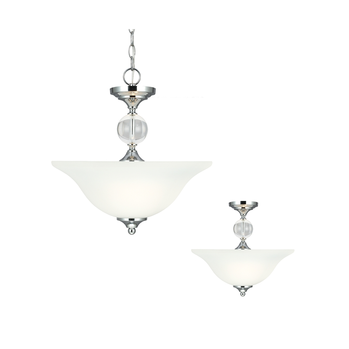 Sea Gull Englehorn 2 Light Semi-Flush Convertible Pendant in Chrome / Optic Crystal 7713402BLE-05
