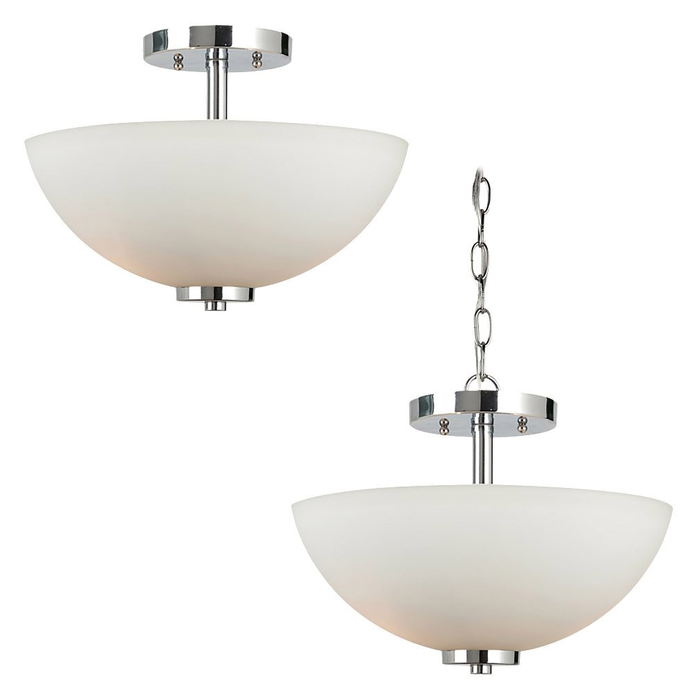 Sea Gull 77160BLE-05 Oslo 2 Light 14 inch Chrome Semi-Flush Convertible Pendant Ceiling Light in Fluorescent photo