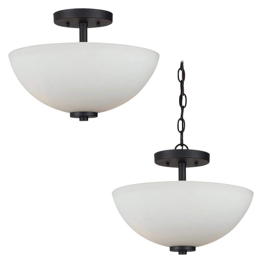 Sea Gull Lighting Oslo 2 Light Semi-Flush Mount Convertible in Blacksmith 77160BLE-839