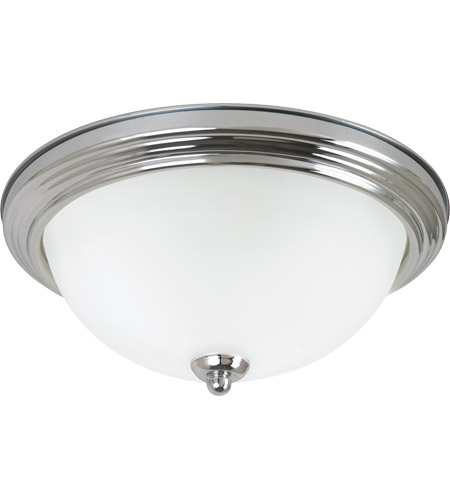Sea Gull 79364BLE-05 Signature 2 Light 13 inch Chrome Flush Mount Ceiling Light in Satin Etched Glass photo