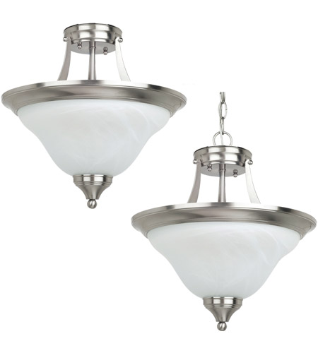 Sea Gull Lighting Brockton Fluorescent 2 Light Semi-Flush Convetable Pendant in Brushed Nickel 77174BLE-962