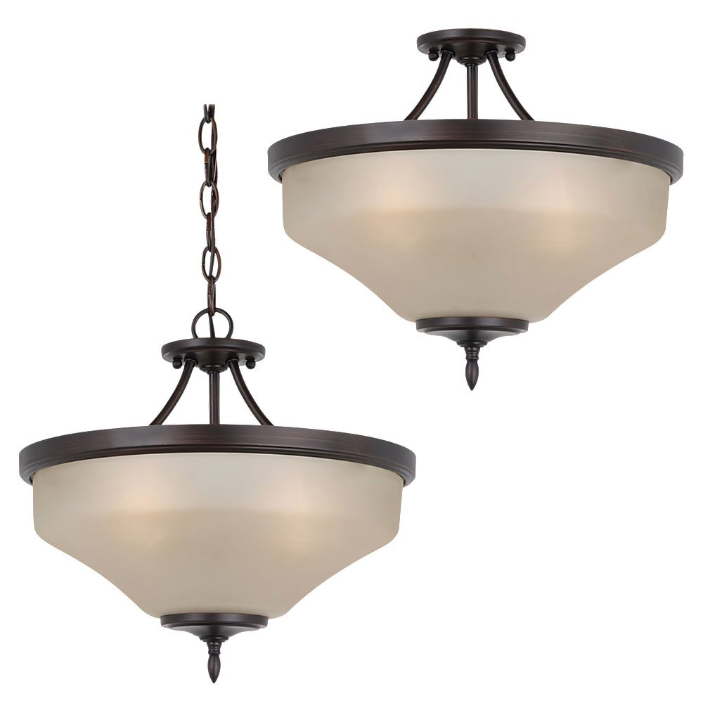 Sea Gull 77180-710 Montreal 3 Light 15 inch Burnt Sienna Semi-Flush Convertible Pendant Ceiling Light in Cafe Tint Glass, Standard photo