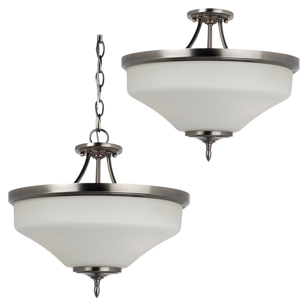 Sea Gull 77180-965 Montreal 3 Light 15 inch Antique Brushed Nickel Semi-Flush Convertible Pendant Ceiling Light in Etched,  White Inside Glass, Standard photo