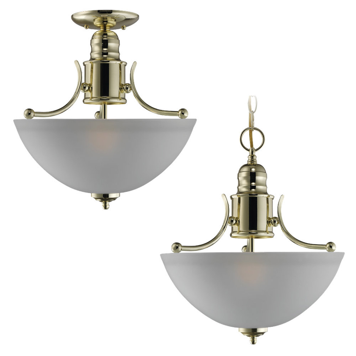 Sea Gull Lighting Linwood 2 Light Flush Mount in Polished Brass 77225-02