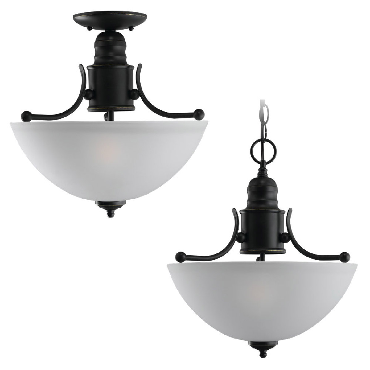 Sea Gull Lighting Linwood 2 Light Flush Mount in Heirloom Bronze 77225-782