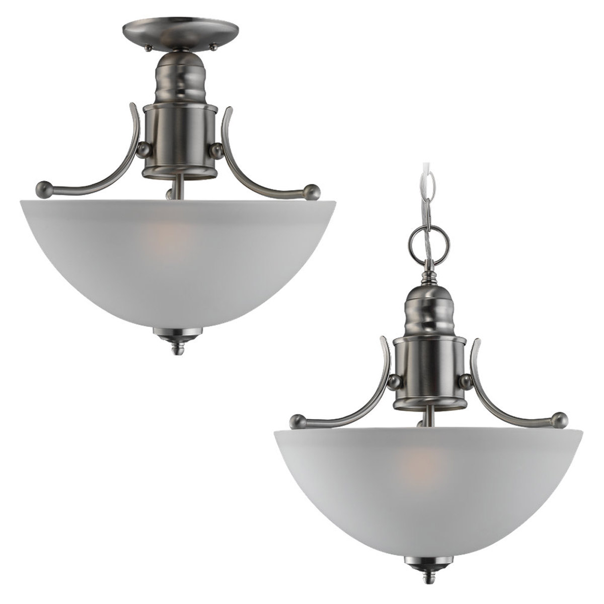 Sea Gull Lighting Linwood 2 Light Flush Mount in Brushed Nickel 77225-962