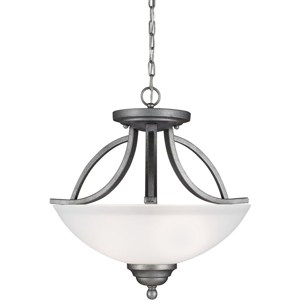 Sea Gull Vitelli 2 Light Semi-Flush Convertible Pendant in Weathered Pewter 7731402-57 photo