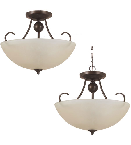 Sea Gull 77316-710 Lemont 3 Light 17 inch Burnt Sienna Semi-Flush Convertible Pendant Ceiling Light in Standard photo
