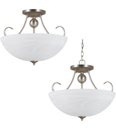 Sea Gull 77316BLE-965 Lemont 3 Light 17 inch Antique Brushed Nickel Semi-Flush Convertible Pendant Ceiling Light in Fluorescent photo