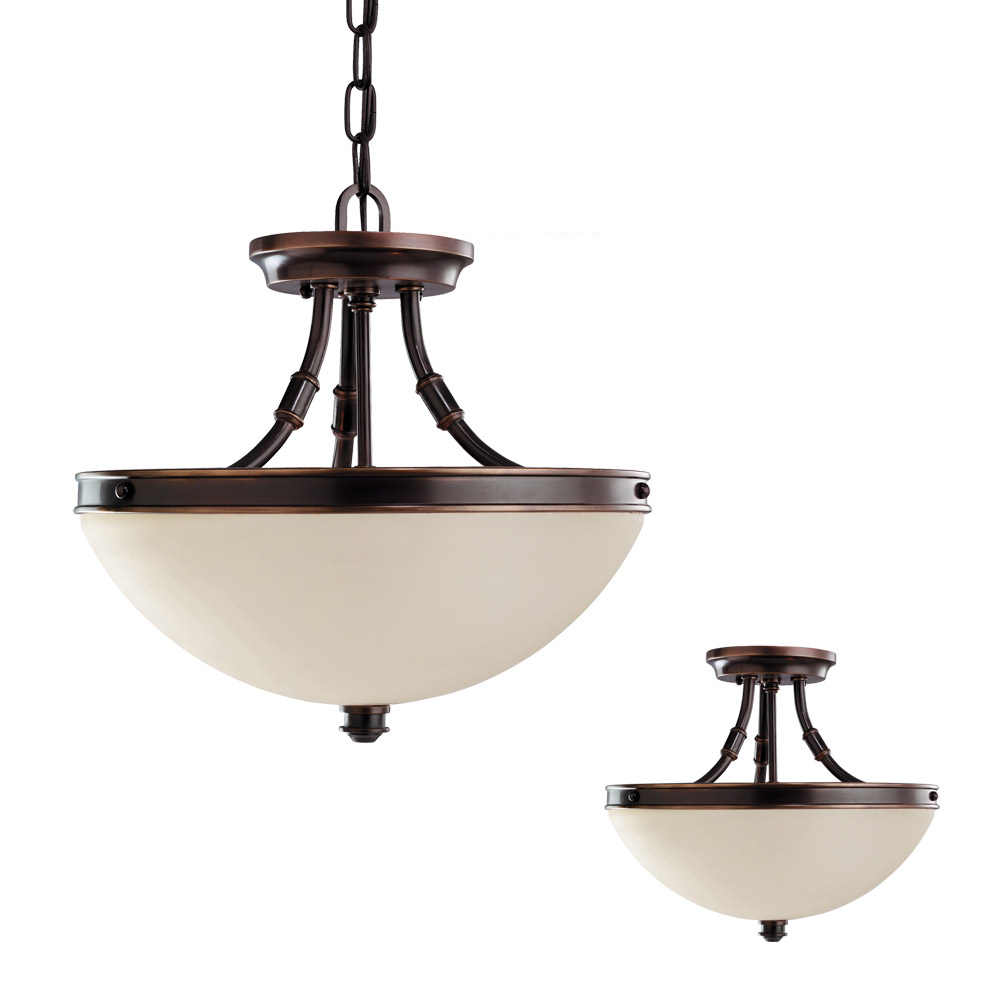 Sea Gull Warwick 2 Light Semi-Flush Convertible Pendant in Autumn Bronze 77330-715