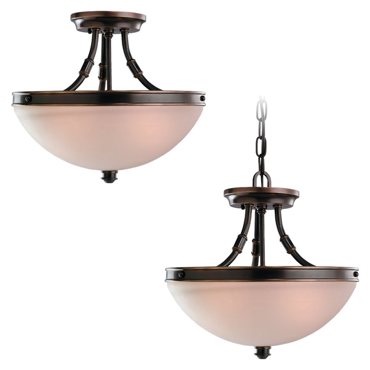Sea Gull Lighting Warwick 2 Light Semi-Flush Mount in Vintage Bronze 77330-825