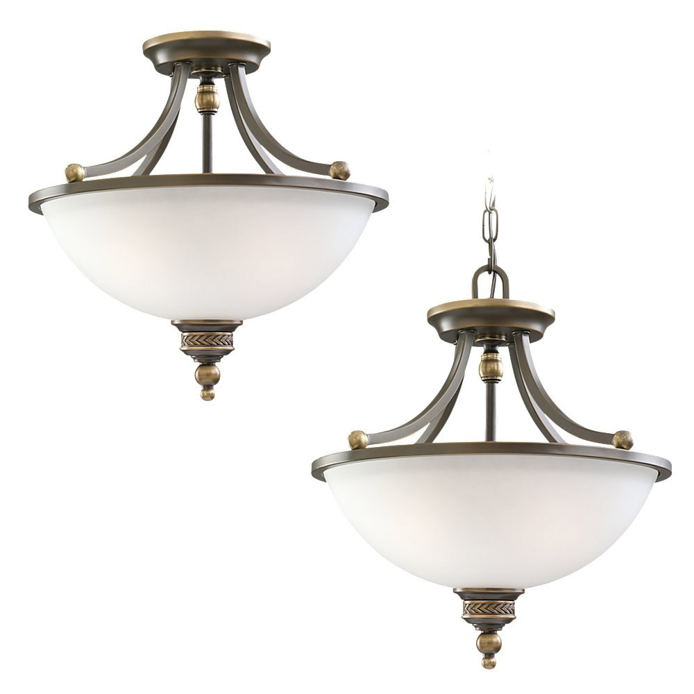 Sea Gull Lighting Laurel Leaf 2 Light Pendant Convertible in Estate Bronze 77350-708