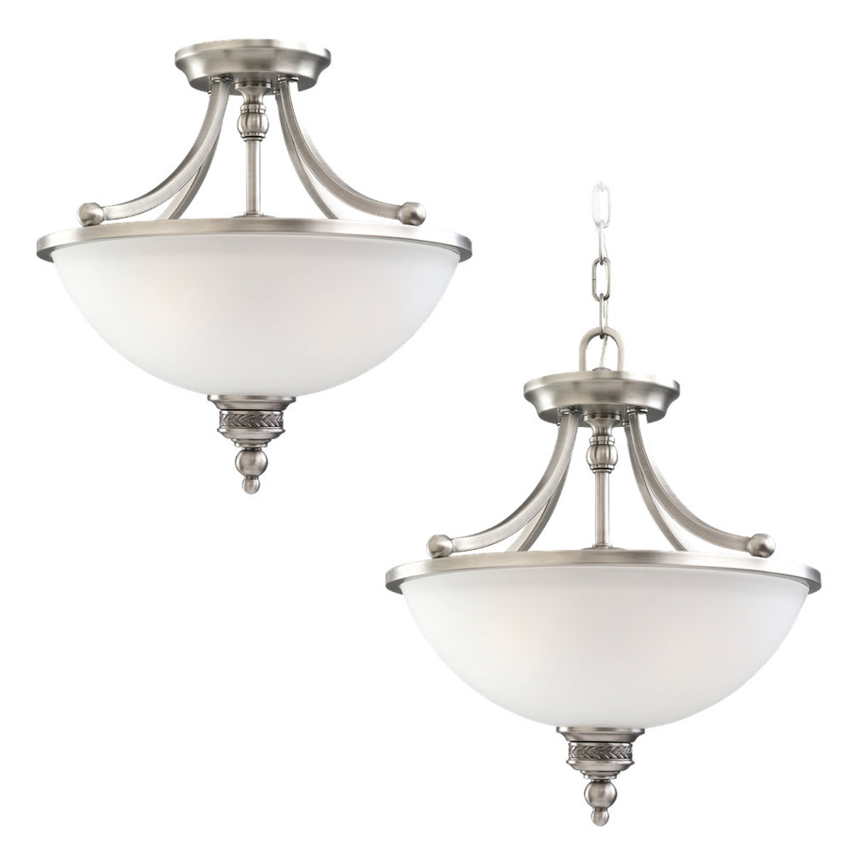 Sea Gull Lighting Laurel Leaf 2 Light Semi-Flush Mount in Antique Brushed Nickel 77350-965