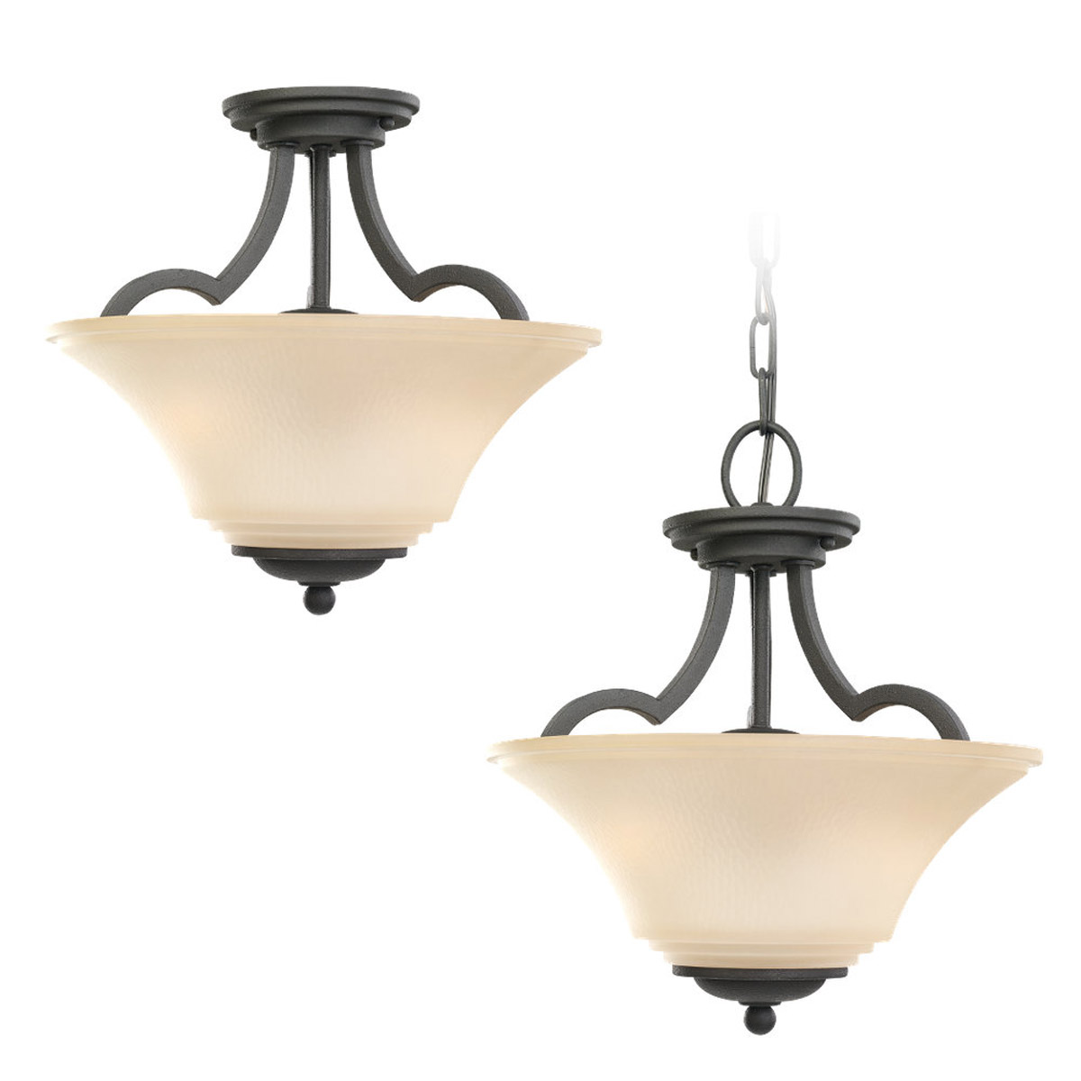 Sea Gull 77375-839 Somerton 2 Light 13 inch Blacksmith Semi-Flush Mount Ceiling Light in Cafe Tint Glass, Standard photo