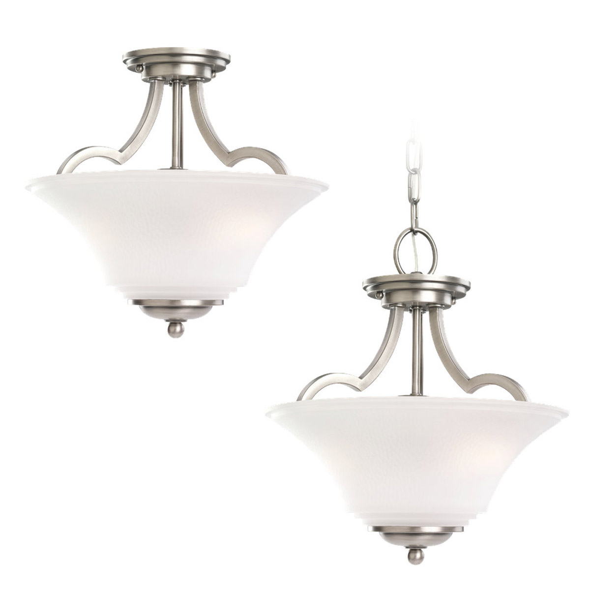 Sea Gull 77375-965 Somerton 2 Light 13 inch Antique Brushed Nickel Semi-Flush Mount Ceiling Light in Satin Etched Glass, Standard photo
