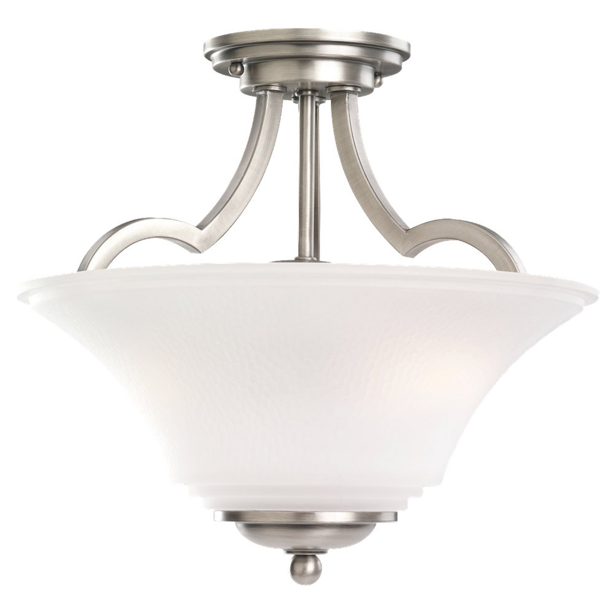 Sea Gull 77375BLE-965 Somerton 2 Light 13 inch Antique Brushed Nickel Semi-Flush Convertible Pendant Ceiling Light in Satin Etched Glass, Fluorescent photo