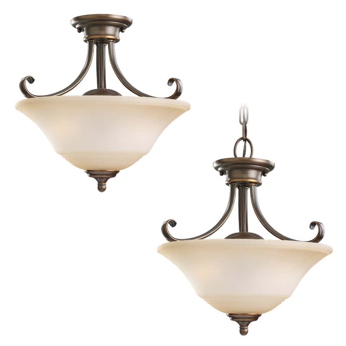 Sea Gull 77380-829 Parkview 2 Light 15 inch Russet Bronze Semi-Flush Mount Ceiling Light in Ginger Glass photo