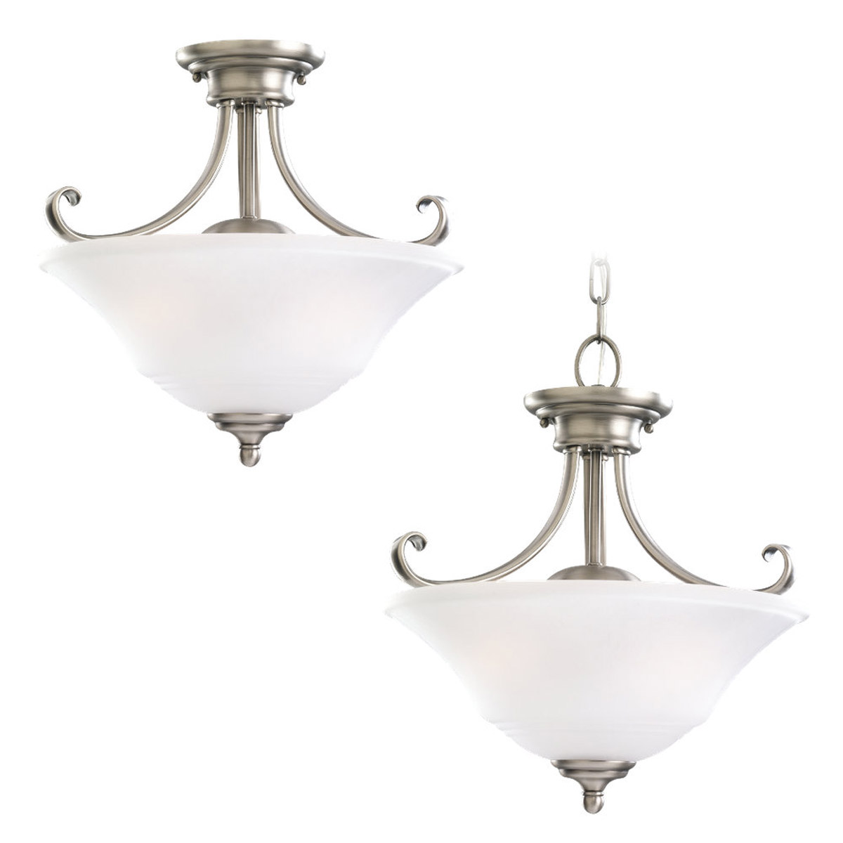 Sea Gull 77380-965 Parkview 2 Light 15 inch Antique Brushed Nickel Pendant Convertible Ceiling Light in Satin Etched Glass photo