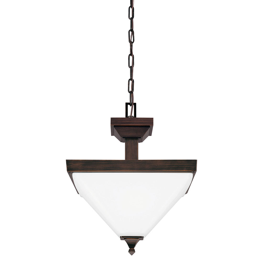 Sea Gull 7750402BLE-710 Denhelm 2 Light 14 inch Burnt Sienna Semi-Flush Convertible Pendant Ceiling Light in Fluorescent photo