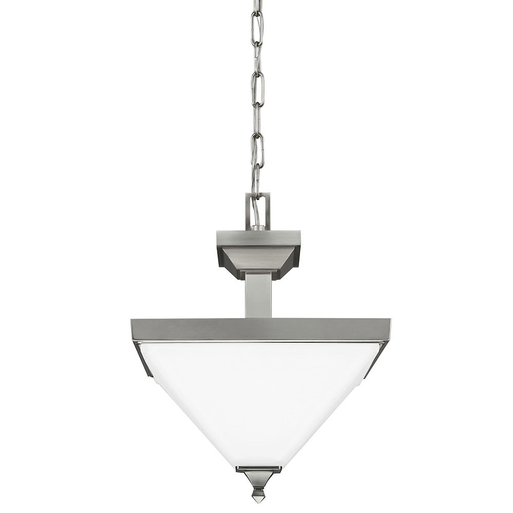 Sea Gull 7750402BLE-962 Denhelm 2 Light 14 inch Brushed Nickel Semi-Flush Convertible Pendant Ceiling Light in Fluorescent photo