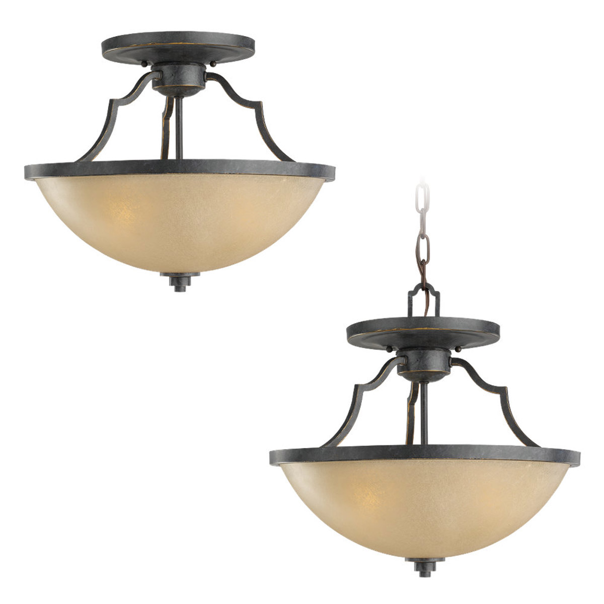 Sea Gull Lighting Roslyn 3 Light Semi-Flush Mount in Flemish Bronze 77520-845