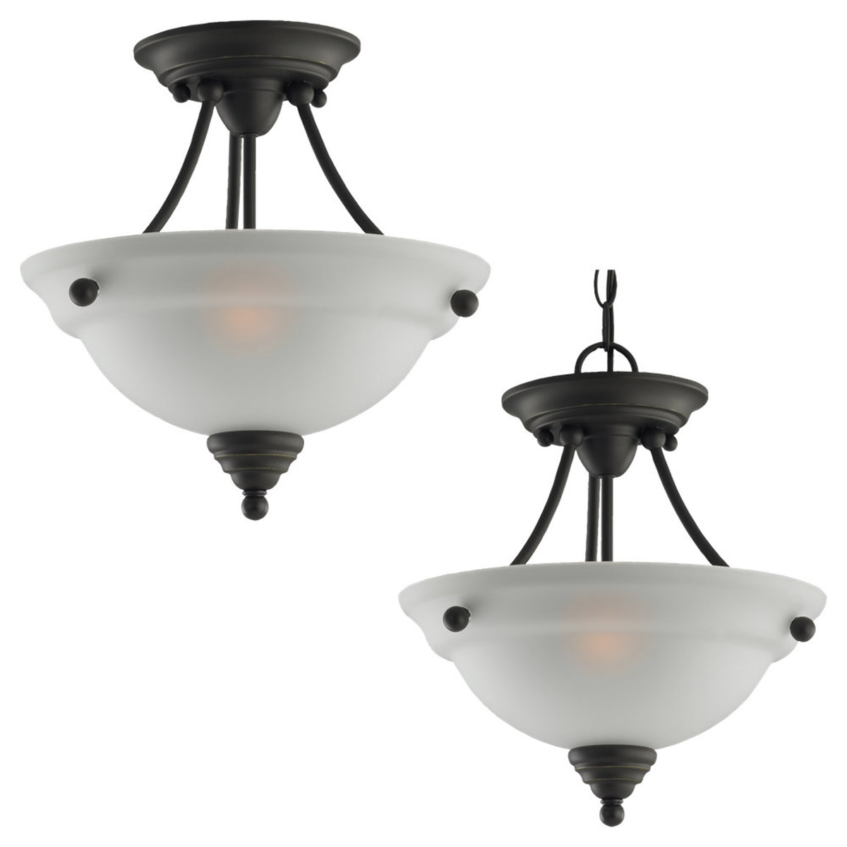 Sea Gull Lighting Albany 2 Light Semi-Flush Mount in Heirloom Bronze 77575-782