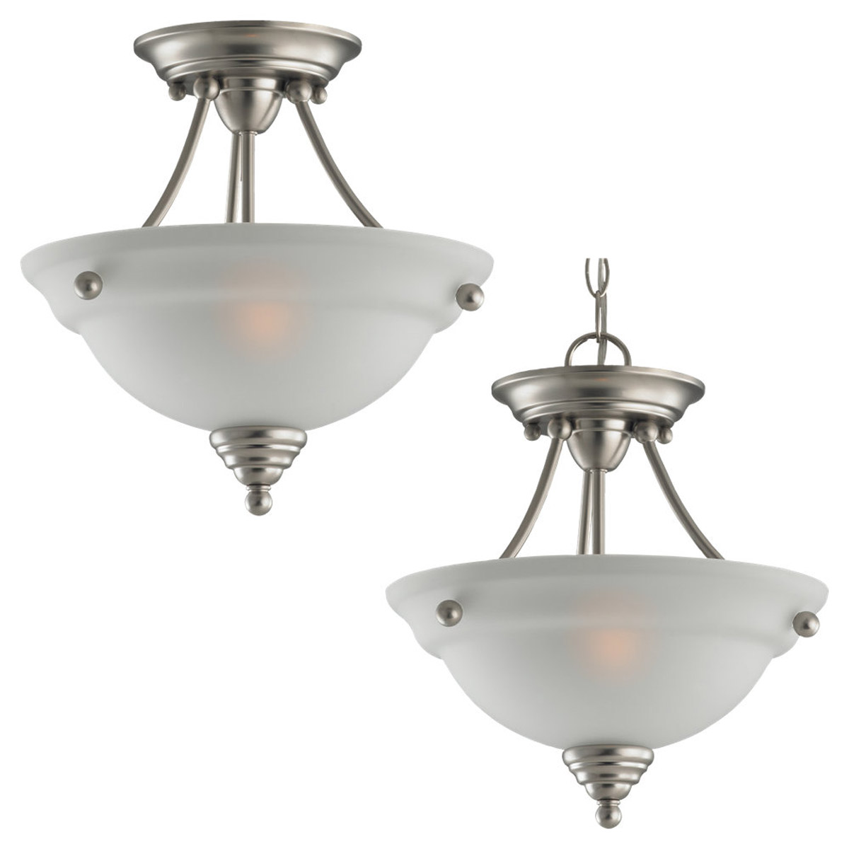 Sea Gull Lighting Albany 2 Light Semi-Flush Mount in Brushed Nickel 77575-962