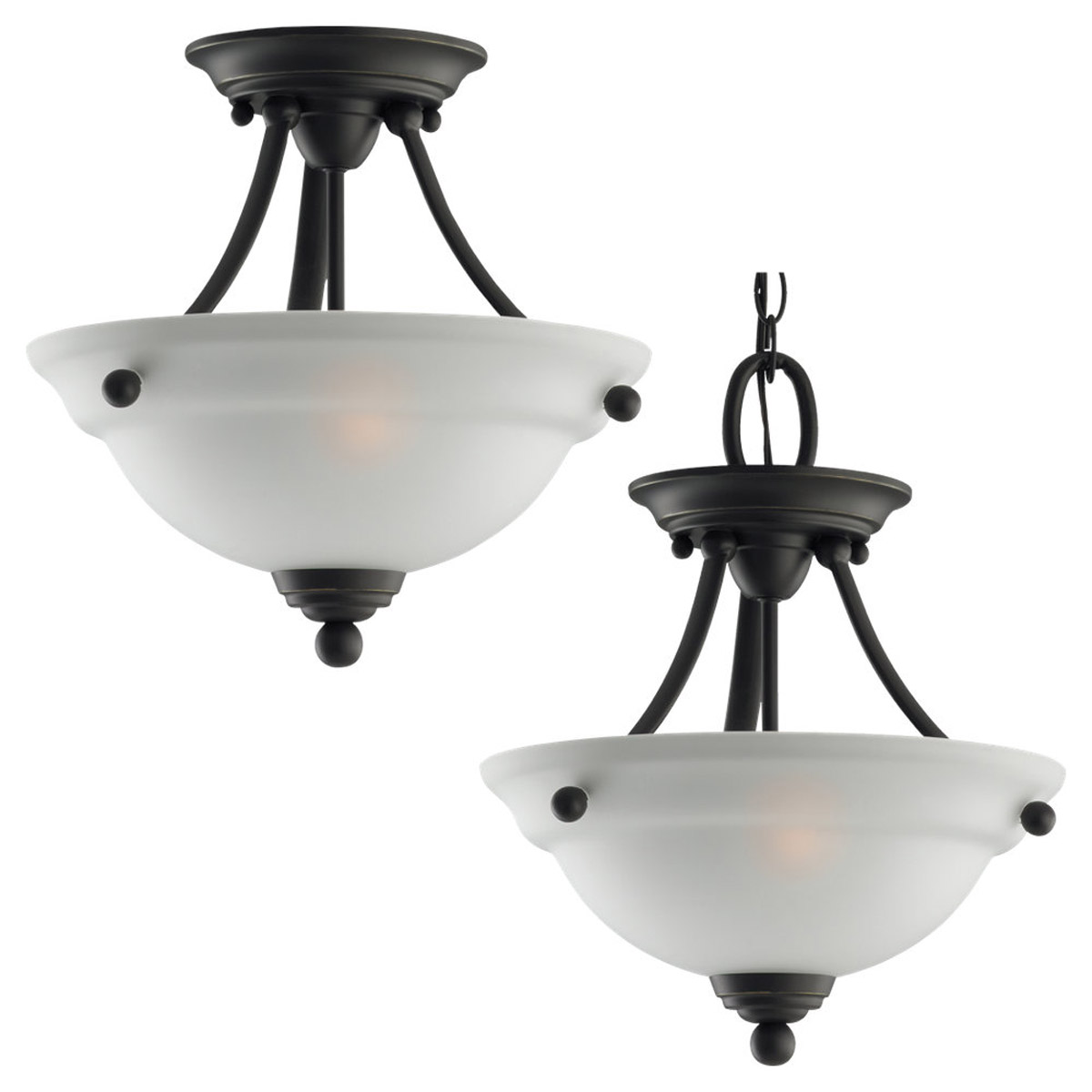 Sea Gull Lighting Wheaton 2 Light Semi-Flush Mount in Heirloom Bronze 77625-782