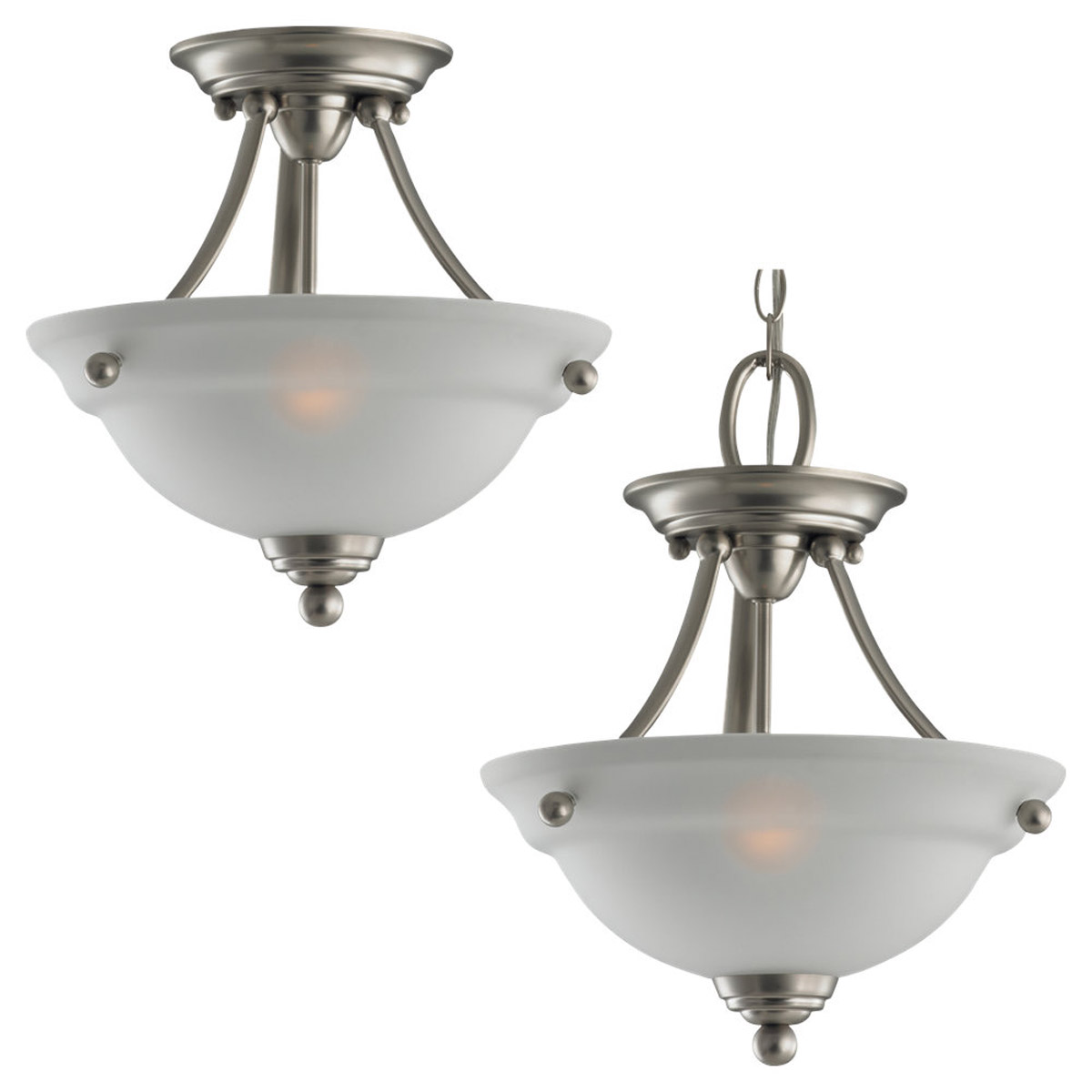Sea Gull Lighting Wheaton 2 Light Semi-Flush Mount in Brushed Nickel 77625-962