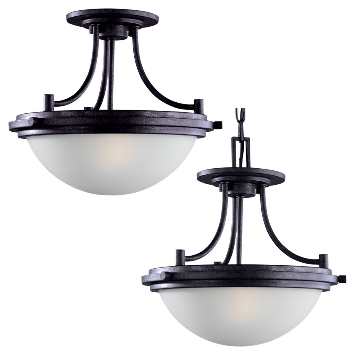 Sea Gull Lighting Winnetka 2 Light Pendant Convertible in Blacksmith 77660-839