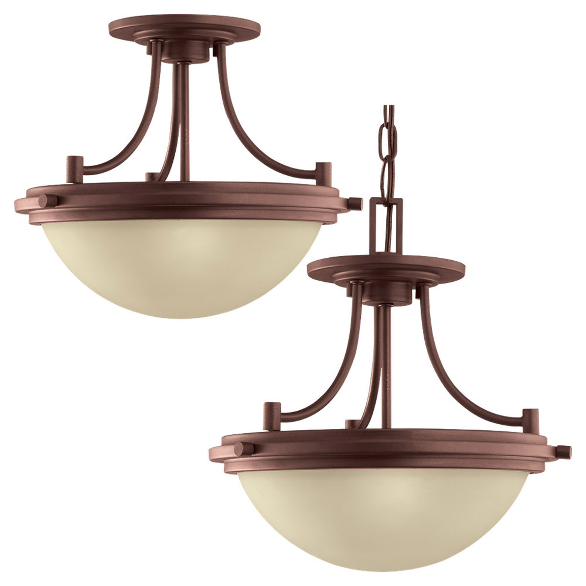 Sea Gull Lighting Winnetka 2 Light Semi-Flush Mount / Pendant in Red Earth 77660-847